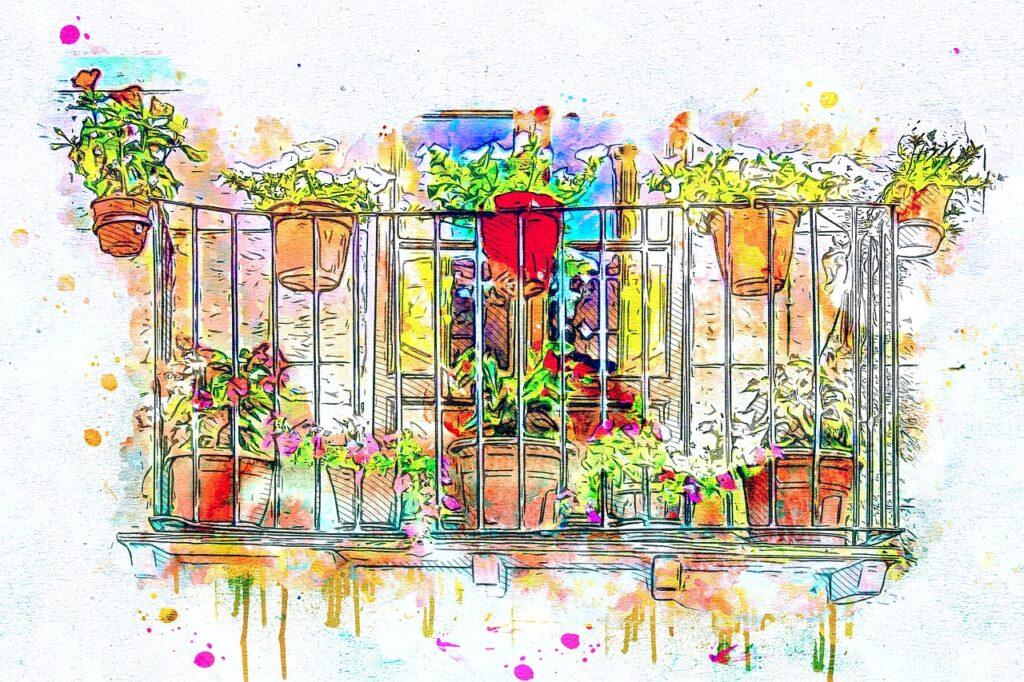 balcony, flowers, art